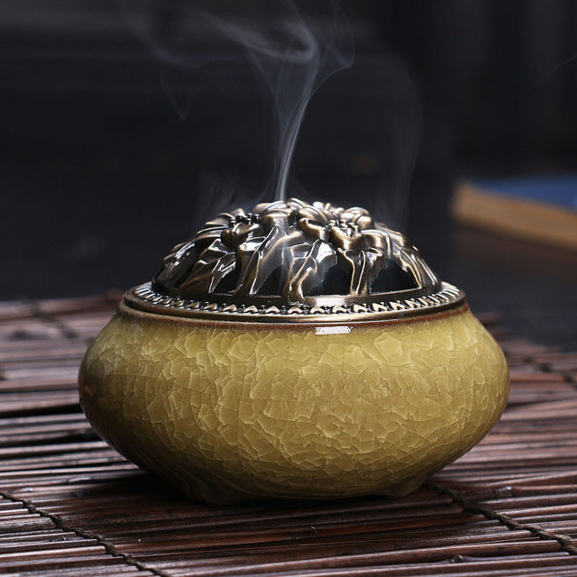 celadon ceramic Buddha incense base copper alloy antique incense burner incense sandalwood incense small