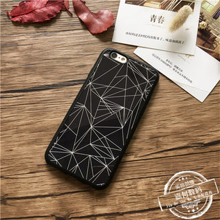 Stylish Mosaic Geometric Figure Black White Couple Smart Phone Cases Coque Back Cover for iPhone 5s 5 SE 6s 6 7 Plus Case Capa
