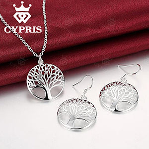 BEST SELLING HOT Silver Tree Of Life jewelry bridal set necklace earring totem gift wife girl wedding 925 wholesale jewellery