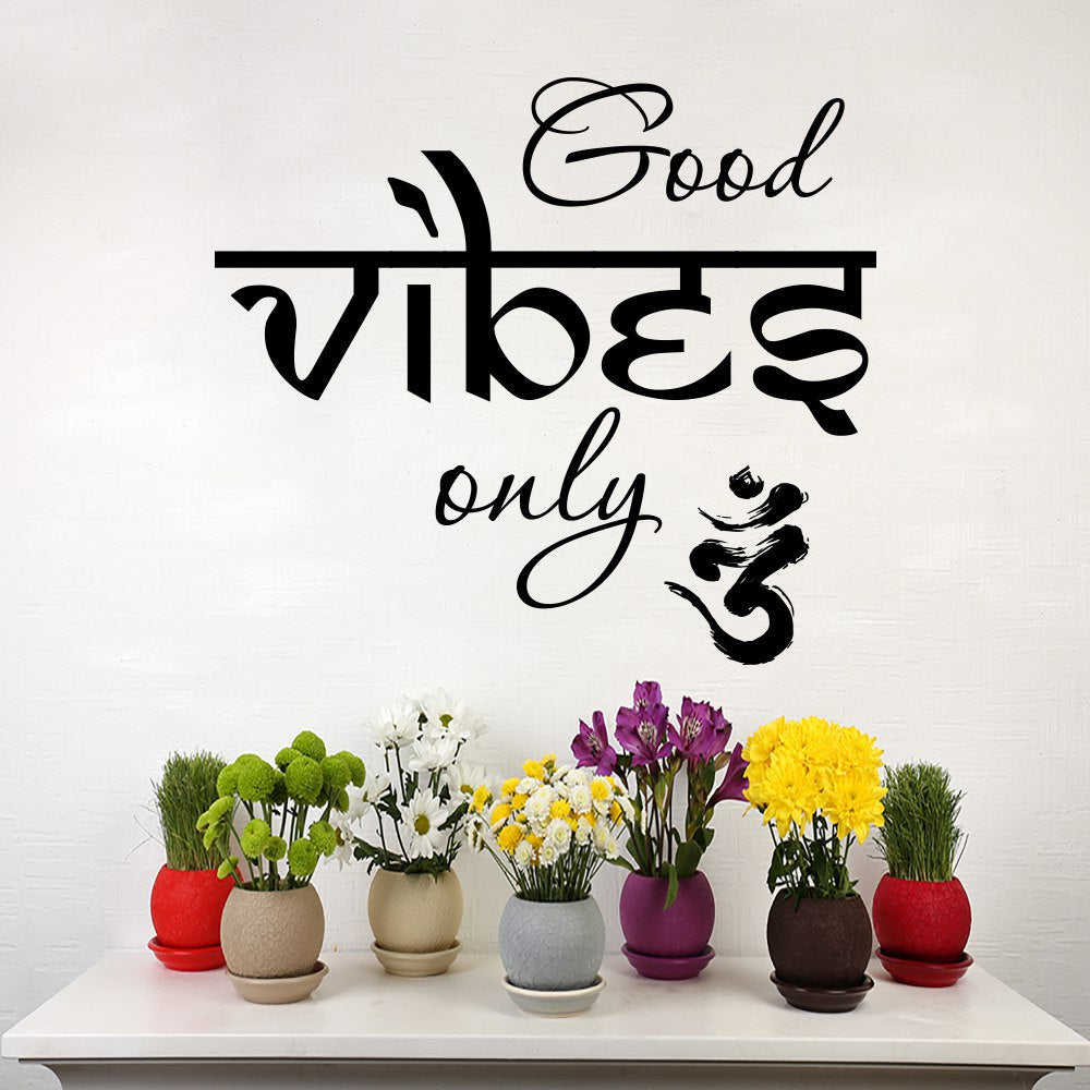 Hot Quotes Good Vibes only Yoga Meditation Wall Sticker Home Wall Living Room Decor PVC Wallpaper Room Decor Stickers NY-282