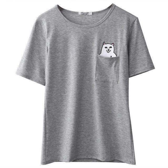 Unisex Mens Womens Lord Nermal Pocket Cat T-Shirt RIPNDIP rip n dip CREAM