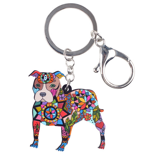 Bonsny Acrylic Dog Jewelry Boston Terrier Pit Bull Key Chain Key Ring Pom Gift For Women Girl Bag Charm Keychain Pendant Jewelry