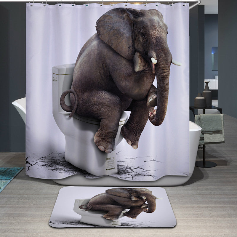 High Quality Cartoon Shower Curtain Polyester Waterproof Home Bathroom Curtains 3D Printed Elephent  thicken shower curtains