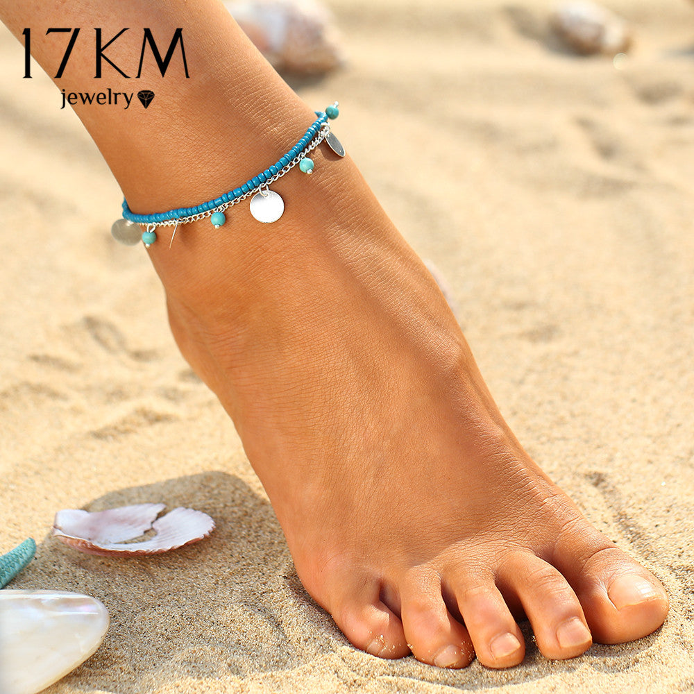 17KM 1 PCS Summer Beads Pendant Anklet Foot Chain Ankle Snow Bracelet Charm Leaf Anklet Tassel Beach Vintage Foot Jewelry Gift