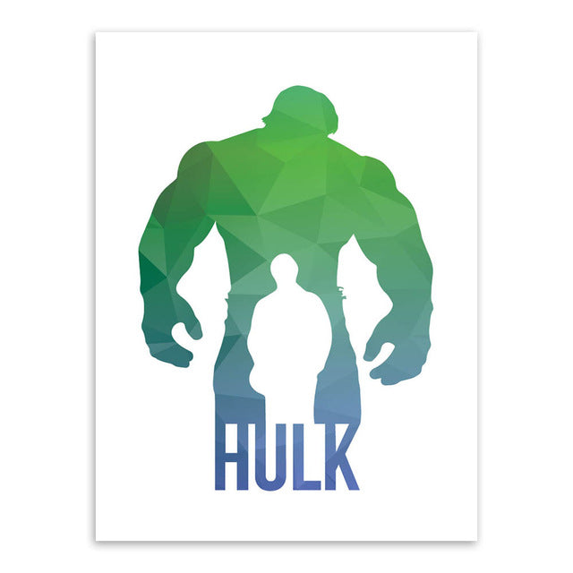Original 3D Geometric Abstract Super Hero Batman Hulk Pop Movie Canvas A4 Print Poster Wall Picture Home Decor Painting No Frame