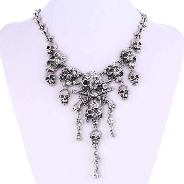 LOVBEAFAS 2017 Fashion Classic Maxi Statement Vintage Pirate Skeleton Skull Necklaces & Pendants Retro Rhinestone Punk Necklace