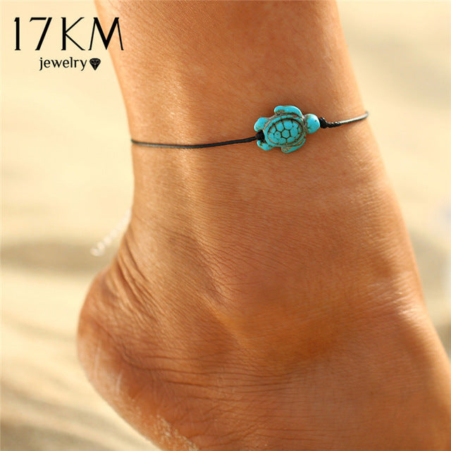 17KM Fashion Brand Vintage Cut Tortoise Pendant Anklet Beach Foot  Leather Chain 2017 New Summer Anklets Foot Jewelry Gift