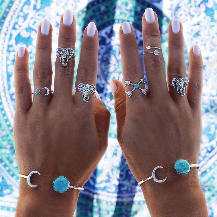 6pcs/lot Bohemian Tibetan Silver Rings Set