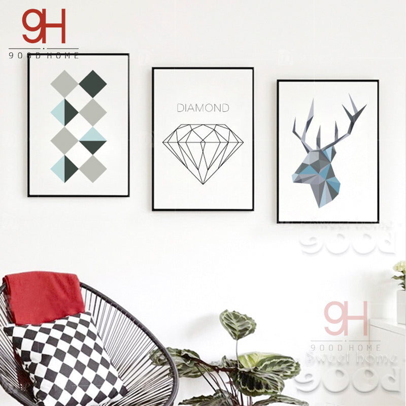 900D Posters And Prints Wall Art Canvas Painting Wall Pictures For Living Room Nordic Geometric Deer Head Decoration YE104