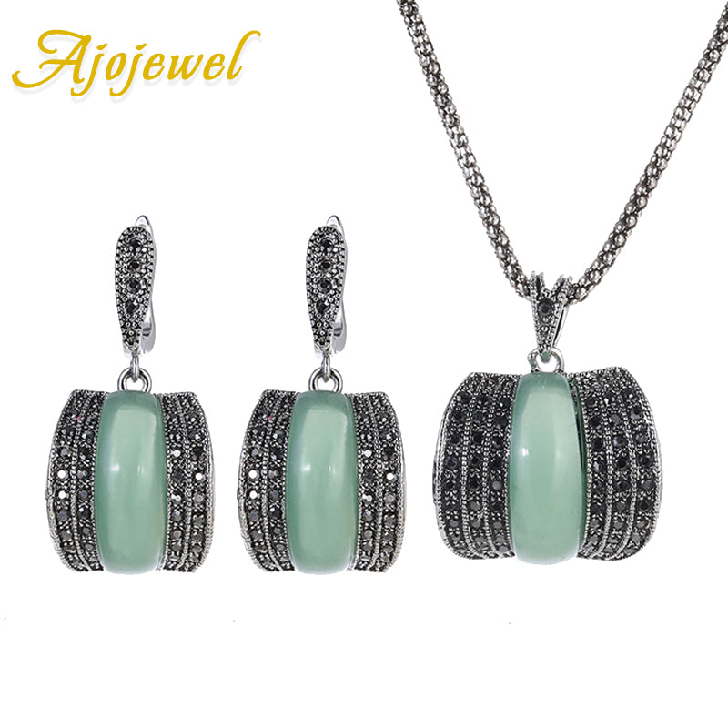 Ajojewel 2017 Original Green Stone Fine Vintage Jewelry Sets For Women Bijoux Femme New Model CZ Jewellery Sets
