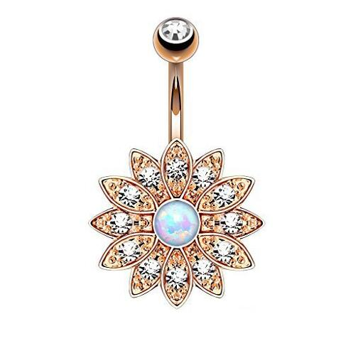 Elegant Natural Opal Navel Piercing Ombligo Body Jewelry Crystal Flower Belly Button Rings Barbell Piercing Belly Ring Pircing