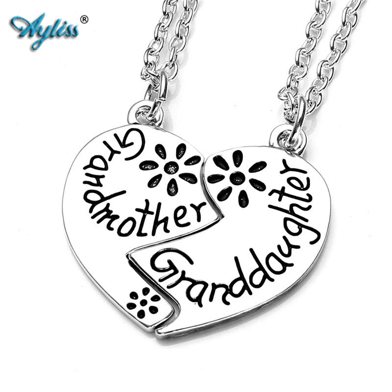 Ayliss Latest 2pcs Love Heart Grandmother Granddaughter Two Chains Family Pendant Necklace Charms Beads Gifts Silvery Color