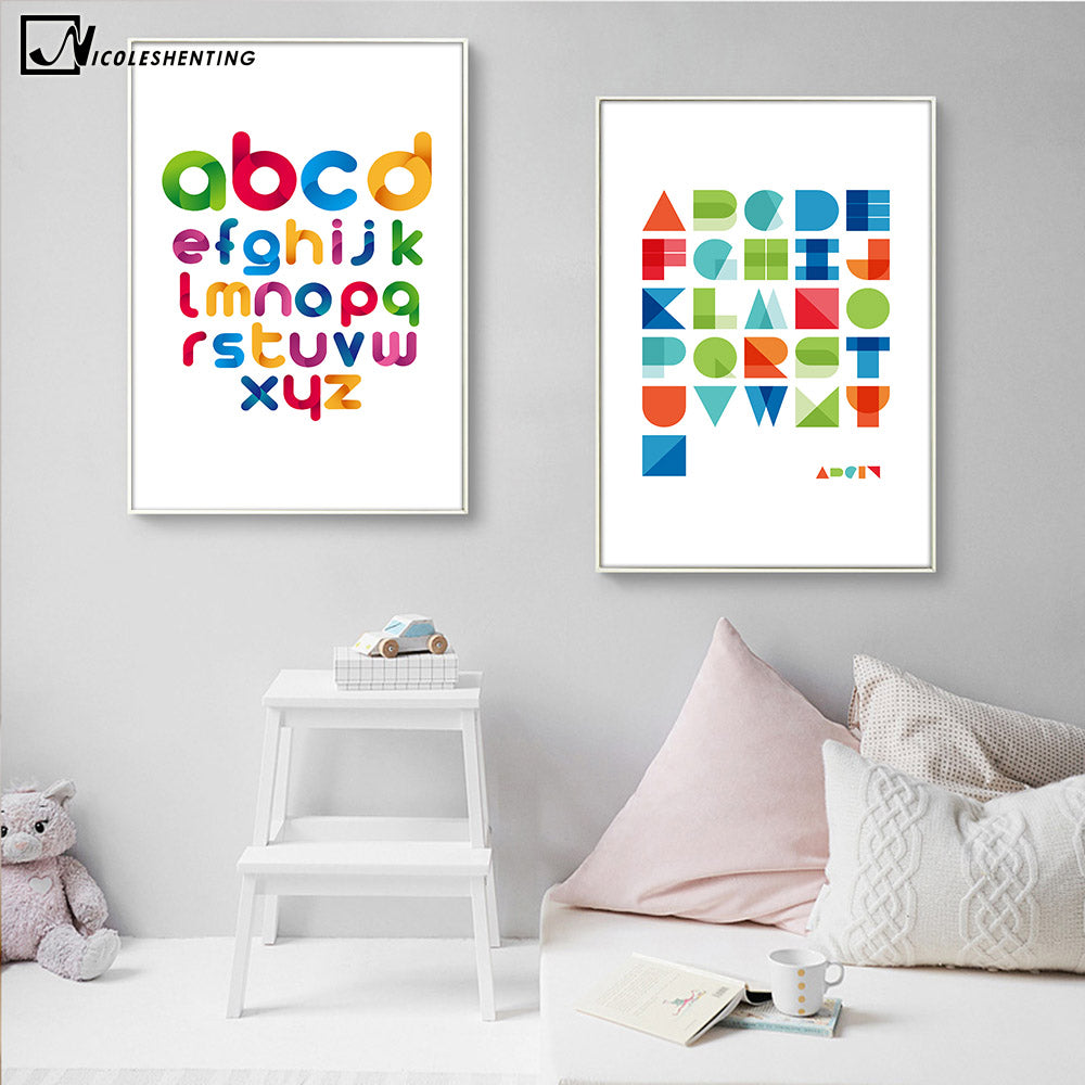 NICOLESHENTING Geometric ABC Alphabet Art Canvas Poster Minimalist Print Modern Nursery Picture Home Children Room Decoration