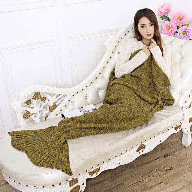 7 Colors Yarn Knitted Mermaid Tail Blanket Soft Sleeping Bed Handmade Crochet Anti-Pilling Portable Blanket Air Conditioning