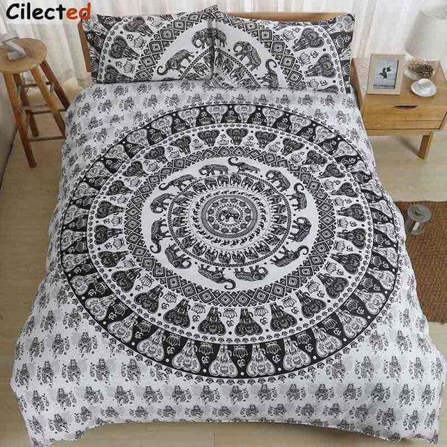 Cilected India Elephant Bedding Set White Mandala Printed Duvet Cover Set Include Bedspread And Pillowcase 2/3pc Set