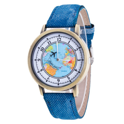 Delicate Hot! 2016 Femal Fashion Retro Clock Women's Tower World Map Cowboy Band Analog Quartz Wrist Watch Ladies Bracelet Watch
