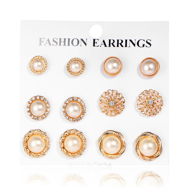 17KM Gold Color Flower Hollow Stud Earring Vintage Crystal Simulated Pearl Earrings Set For Women Wedding Jewelry 6 Pairs/Set