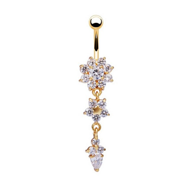 2017 New Flower Shaped High Quality Medical Steel Buckle Gold Color  Piercing  Navel Belly Button Ring Drop Shipping