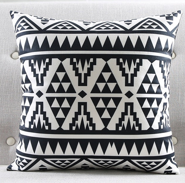 Modern black and white kids cushion covers geometric triangles modern black and white kids cushion covers geometric triangles stripes rug pattern pillow cover world map gumiabroncs Images
