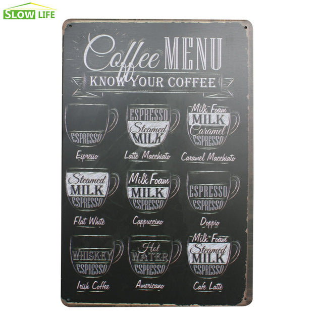 Shots Menu Cafe Bar Pub Wall Decor Metal Sign Vintage Home Decor Tin Sign Metal Plaque Cool Metal Plate Coffee Metal Poster