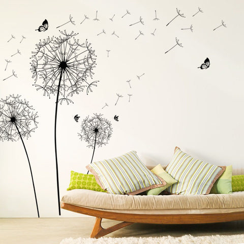 [Fundecor] large black dandelion flower wall stickers home decoration living room bedroom furniture art decals butterfly murals