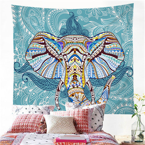 BeddingOutlet Blue Tapestry Elephant Head Hippy Bohemian Wall Hanging Tapestry Boho Dorm Decor 150x150cm Throw Bedspread