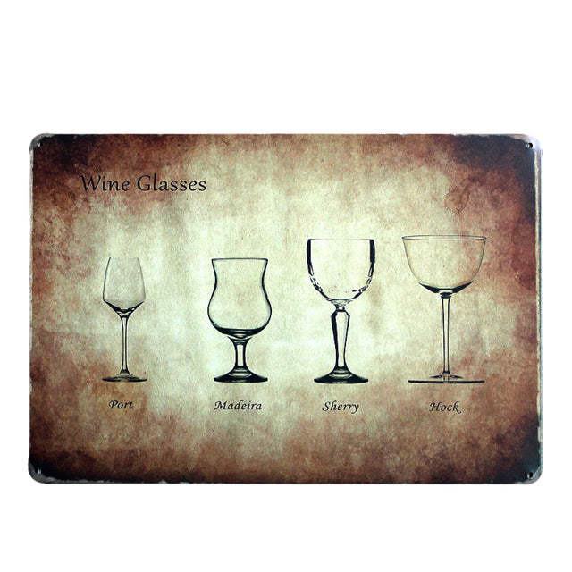 "Wine/Whiskey/Beer/Cocktail Vintage Home Decor Tin Sign 8""x12"" Metal Sign Bar/Pub/Garage Wall Decor Metal Plaque Metal Art Poster"