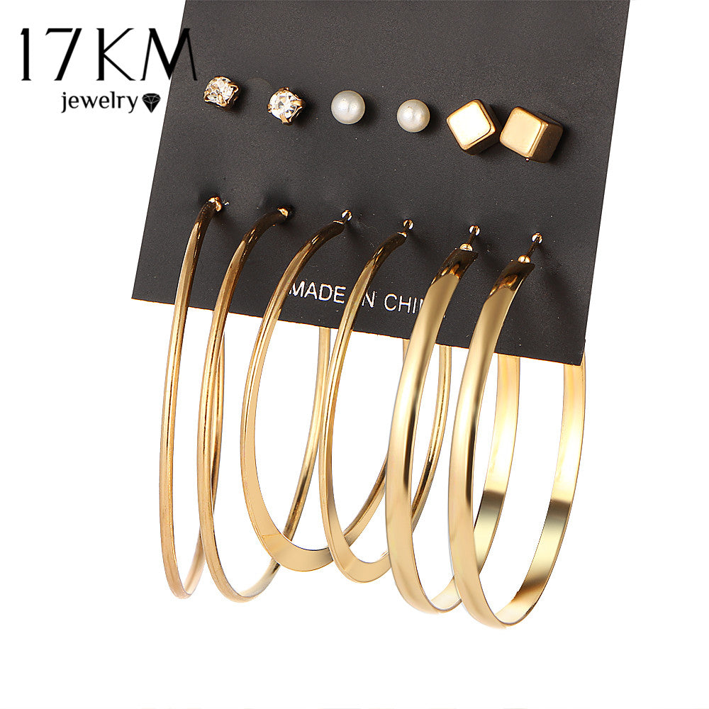 17KM Brand New 9 Pair/set Vintage Gold Color Big Circle Hoop Earrings for Women Steampunk Ear Women Earring Set Party Jewelry