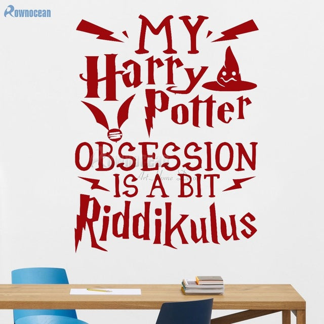 INSPIRED BY DUMBLEDORE HARRY POTTER QUOTES WALL ART DECAL VINYL STICKER My Harry Potter Obsession Is  A Bit Riddiculus H-08