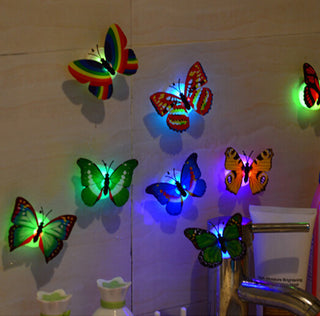 10 PCS 3D Wall Stickers Lifelike Butterfly Powered LED Lights Wall Stickers 3D House Decoration Vovotrade Battery Included