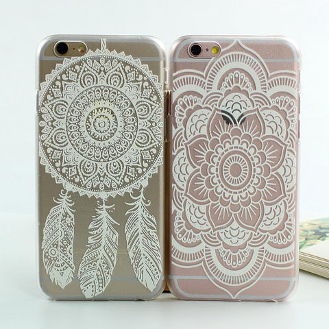 White Floral Paisley Flower Mandala Case Cover For iphone 7 Plus 6 6s Plus Flower Print Case for iphone 6 6s Plus 5s SE Cases