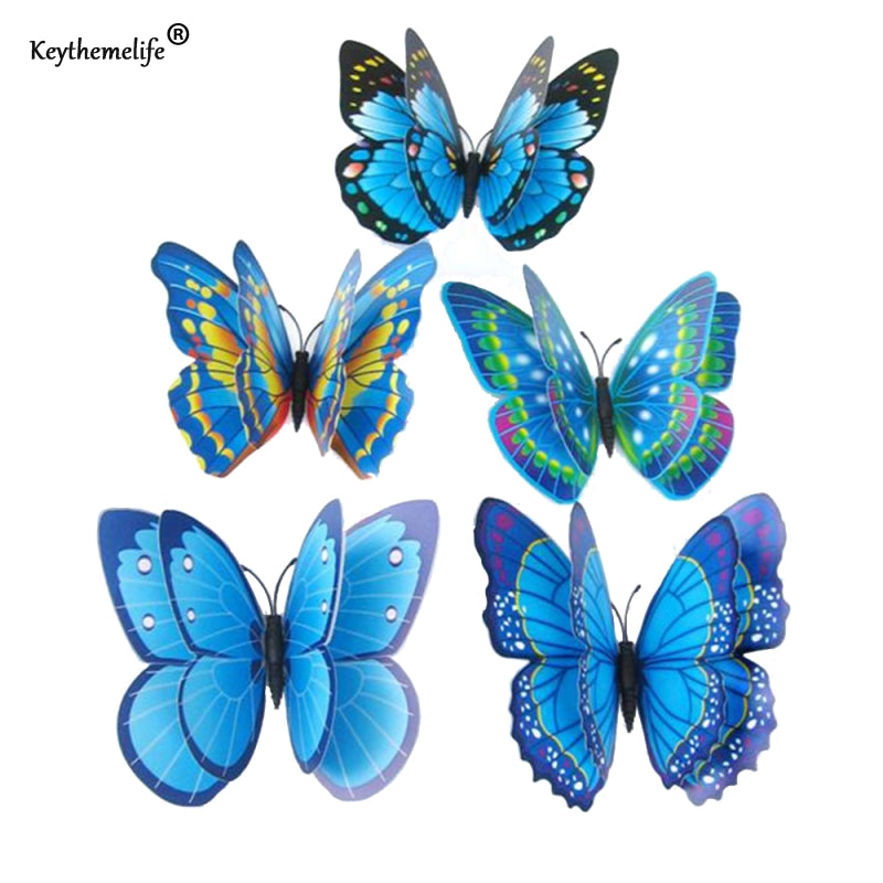Keythemelife 12pcs/lot Butterfly Wall Stickers Double Layer 3D Butterflies colorful bedroom living room Home Fridage Decor DA