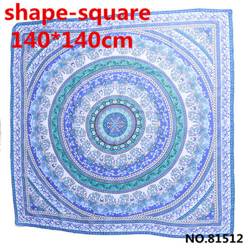 140*140cm Indian Mandala Bohemian Style Chiffon Tapestry Beach Towel Wrap Hippie Tapestry Yoga Mat Wall Hanging Bedspread