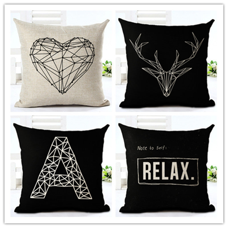 Fashion Style Black And White lines Chair Cushion Decor Cojines Sofa Throw Pillow Printed Cotton Linen Square Fundas