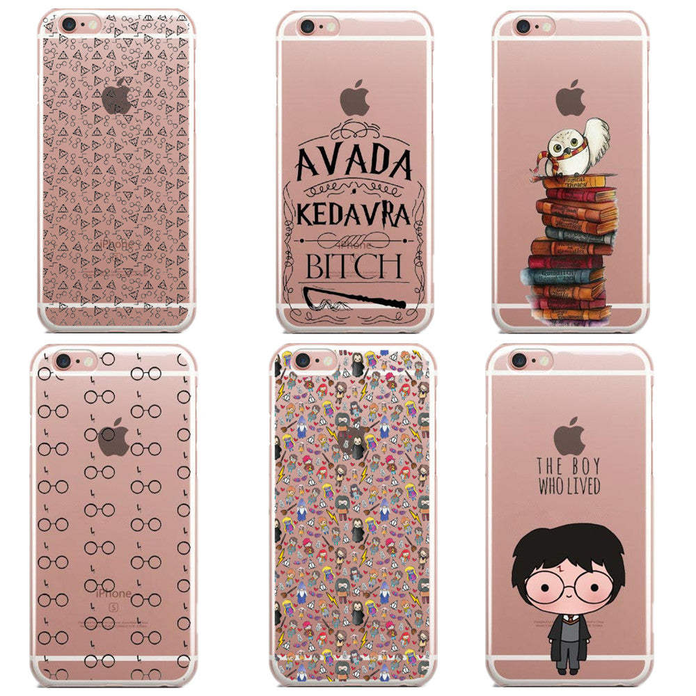 Harry Potter glasses Owl Hedwig Book Pattern Cases for iPhone 6 6s 5 5s SE 7 7Plus 6S Plus Transparent Soft Silicone Case Capa