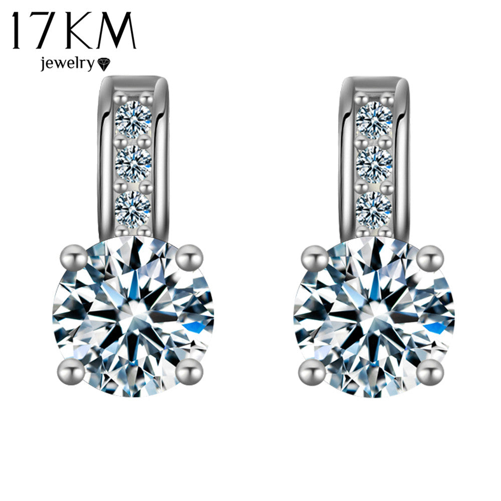 17KM 2017 Dropship Silver Color Crystal Earring Brincos Stud Earring Rhinestone aretes Pendiente oorbellen Earrings For Women