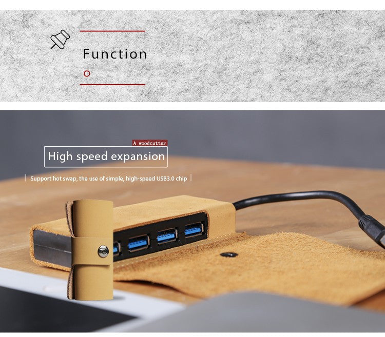 D-park High quality Genuine Leather USB 3.0 Concentrator, Portable 4 port USB hub For laptop PC Computer Laptop with high speed - ShopNowBeforeYouDie.com