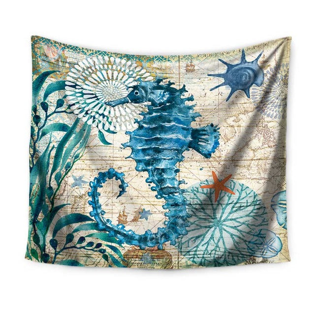 Miracille Marine Style Sea Turtle Wall Tapestry Sea Horse Pattern Home Decorative Tapete Bedroom Blanket Table Cloth Yoga Mat