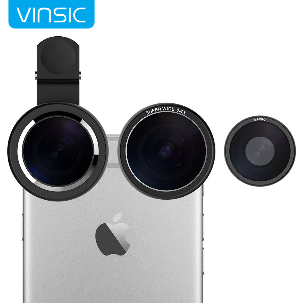 Vinsic Clip On 235 Degree Fish Eye Lens, Wide Angle Lens, 3 in 1 Camera Lens Kits for iPhone 6 Plus iPhone 5 5S Samsung Galaxy