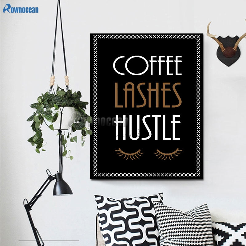 DIY Coffee Hustle Lashes Vinyl Wall Stickers English Word Removable Background Wall Art Decal For Bedroom Unique Home Decor D574