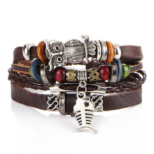 17KM Punk Design Turkish Eye Bracelets For Men New Fashion Wristband Female Owl Leather Bracelet Synthetic Stone Vintage Jewelry