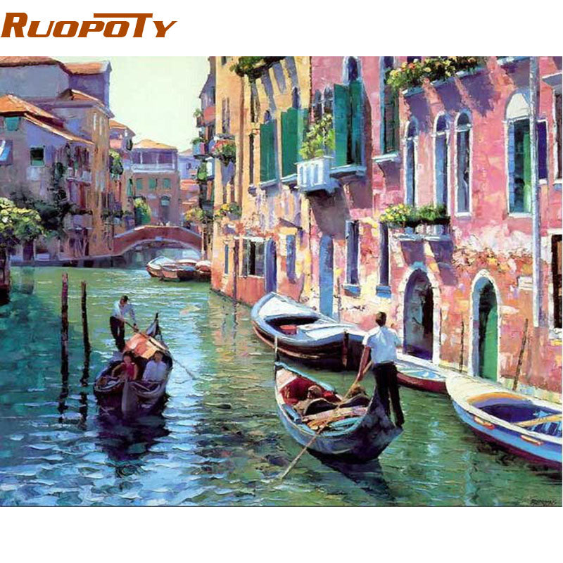 RUOPOTY Landscape DIY Painting By Numbers Home Decoration Handpainted Modern Oil Painting On Canvas Wall Art Picture Venice