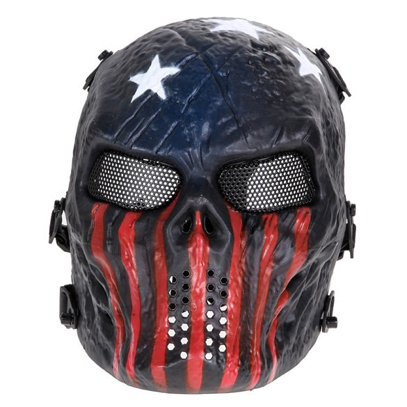 Airsoft Paintball Full Face Protection Skull Mask Army Games Outdoor Metal Mesh Eye Shield Costume for CS Cosplay Party