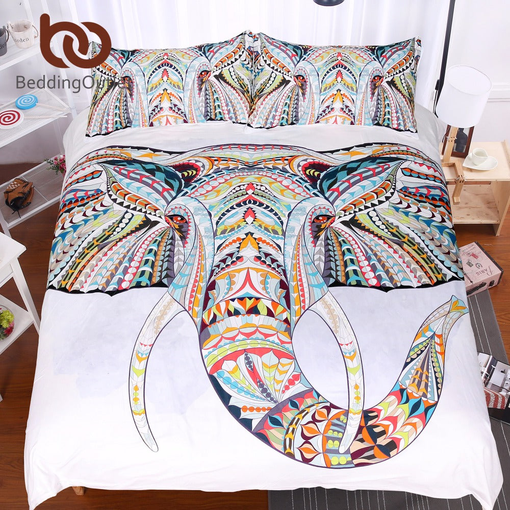 BeddingOutlet 3 Pieces 3D Elephant Bedding Set Bohemia King Duvet Cover with Pillow Case Colorful Printed Indian Bed Set Cover