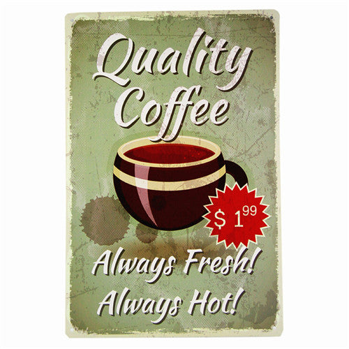 DL-CAFE MENU KNOW YOUR COFFEE TIN SIGN Old Wall Metal Painting ART Decor