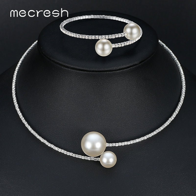 Mecresh Simple Simulated Pearl Bridal Jewelry Sets Crystal Fashion Wedding Jewelry Necklace Bracelet Sets for Women MTL415