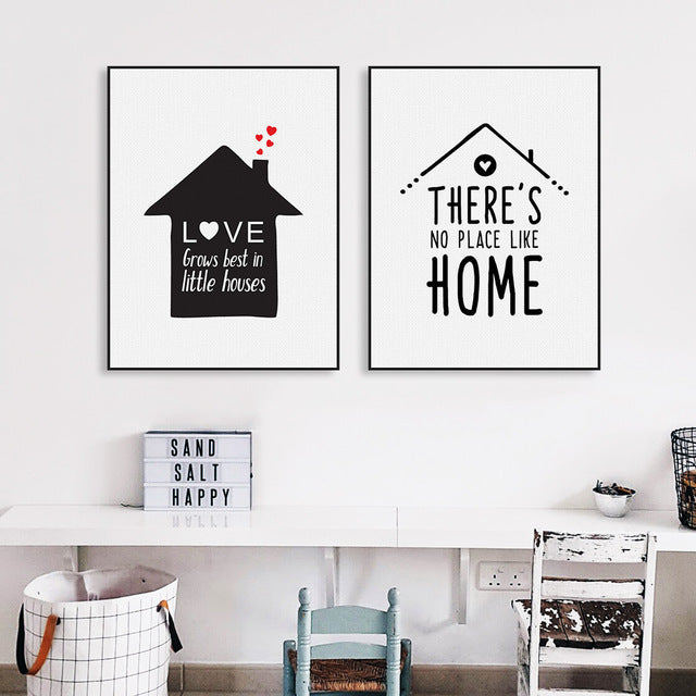 Modern Black Nordic Minimalist Houses Love Quotes A4 Art Print Poster Wall Picture Home Kids Room Decor Canvas Painting No Frame