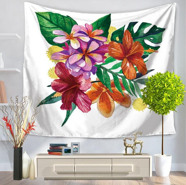 Wall Tapestry Banana Leaves Tropical Hanging Indian Ethnic Dorm Decor Mandala Bohemian Carpet Bedspread Yoga Mat Beach Shawl