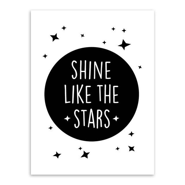 Modern Black Kawaii Star Quotes Art Print Poster A4 Wall Picture Nordic Baby Cute Kids Room Decor Canvas Painting No Frame Gifts