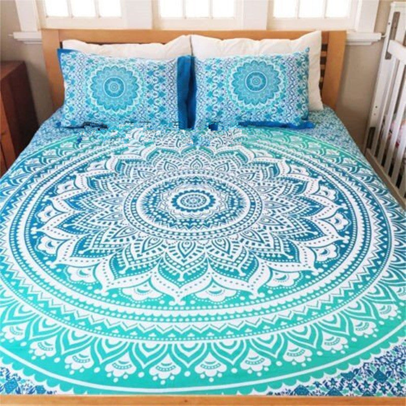 Bohemian Bed Cover 3d boho Mandala printing bed sheet With Pillow Case Indian Home Decor Bedspread tapestry Wholesale Hot